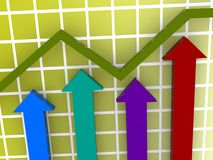 Chart showing increase. A chart showing an increase or growth Stock Images