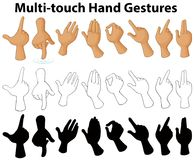 Chart showing multi-touch hand gestures. Illustration Royalty Free Stock Image