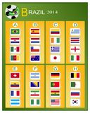 A Chart of Soccer Tournament in Brazil 2014. Brazil 2014 Group, The Flags of 32 Nations of Football or Soccer Championship in Final Tournament at Brazil Stock Image