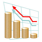 Chart with stacks of coins. Concept of success Royalty Free Stock Photo