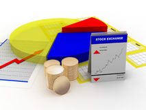 Chart with stock graph Royalty Free Stock Image