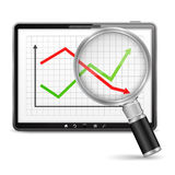 Chart in Tablet PC. Tablet computer with chart on the screen Royalty Free Stock Photos