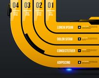 Chart template with four round stripes in yellow industrial techno style Royalty Free Stock Photos