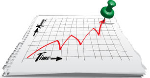 Chart time money rise pin Stock Image