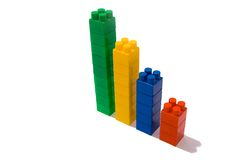 Chart from toy blocks. Plastic play blocks isolated on white background Stock Images