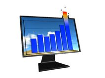 Chart trending up. Bar chart with the last bar bursting out the top of the screen Royalty Free Stock Photos