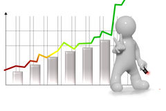 Chart uphill and victorious man. Chart uphill and victorious business man Stock Photos