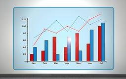 Chart  on virtual screen Royalty Free Stock Photo