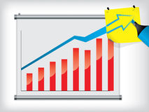 Chart on wall completed with notepaper. Chart on wall completed with yellow notepaper Royalty Free Stock Images