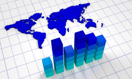 Chart with world map Stock Images