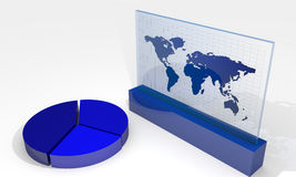 Chart with world map Royalty Free Stock Image