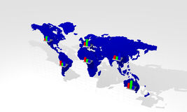 Chart with world map Stock Photo