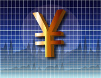 Chart Yen. Yen currency symbol over business charts Stock Images