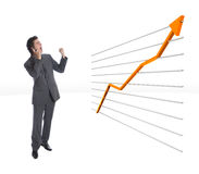 The Chart2. Modern Businessman happy beacause of growing finance chart Stock Image