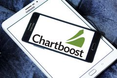 Chartboost company logo. Logo of Chartboost company on samsung mobile. Chartboost is a San Francisco-based mobile game discovery and monetization platform Royalty Free Stock Photos