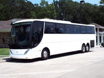 Charter Bus. Luxury charter bus parked at an interstate rest area Stock Image