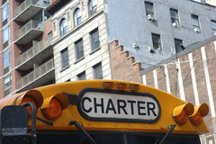 Charter Bus. The top of a yellow charter bus royalty free stock image