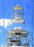 Charter fishing boat flying bridge background. Charter boat fishing boat moored at marna St. Augustine, Florida stock photos