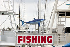 Charter Fishing Sign with Shark. Charter Fishing sign with a shark in a marina royalty free stock photo