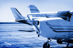 Charter flight. In blue color tone stock photography