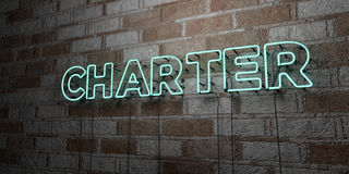 CHARTER - Glowing Neon Sign on stonework wall - 3D rendered royalty free stock illustration. Can be used for online banner ads and direct mailers Royalty Free Stock Photos