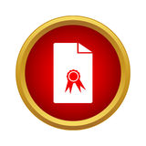 Charter icon, simple style. Charter icon in simple style in red circle Stock Images