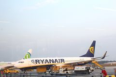 Charter plane of Ryanair at Eindhoven Airport,NL Royalty Free Stock Photos