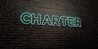 CHARTER -Realistic Neon Sign on Brick Wall background - 3D rendered royalty free stock image. Can be used for online banner ads and direct mailers Stock Photo