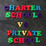 Charter vs Private school concept Stock Images