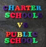 Charter vs Public school concept Stock Image