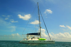 Charter yacht near Caye Caulker in Belize Royalty Free Stock Image