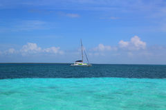 Charter yacht near Caye Caulker in Belize Royalty Free Stock Photos
