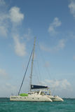 Charter yacht near Caye Caulker in Belize Stock Photo