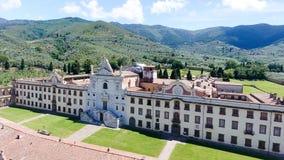 Charterhouse in het platteland van Toscanië, luchtmening Royalty-vrije Stock Afbeelding