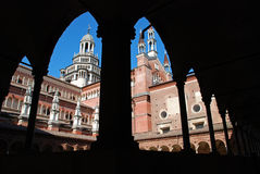 Charterhouse of Pavia. View through the arches of parts of the famous Monastery of Charterhouse of Pavia, in Lombardy, Italy Stock Image