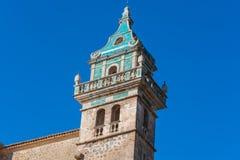 Charterhouse of Valldemossa on Mallorca, Spain. Beautiful view. Tower of the monastery in Valldemossa. Close to the Sierra de Tramuntana Stock Photography