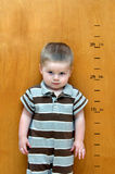 Charting his Growth. Little boy stands against a wooden door.  Besides him is his growth chart.  Feet and inches have been marked as he continues to grow taller Stock Photography