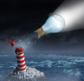 Charting Your Own Course. And taking control of goals through strong creative leadership as a businessman on a light bulb from a lighthouse breaking out to vector illustration