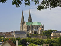 Chartres cathedral. Panorama of Chartres Cathedral, France Stock Photography