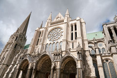 Chartres cathedral. Side view of famous Chartres Notre Dame cathedral Royalty Free Stock Photography