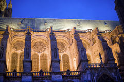 Chartres - Cathedral. Chartres (Eure-et-Loir, Centre, France) - Exterior of the gothic cathedral illuminated at night Stock Photos