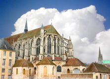 Chartres Cathedral. At the background is overcast. France Stock Image