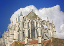 Chartres Cathedral. At the background is overcast. France Royalty Free Stock Photography