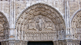 Chartres Cathedral. France. Chartres, France.Cathedral of Notre Dame, built between 1194 and 1250.Central tympanum of the Royal Portal. UNESCO World Heritage Stock Images