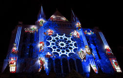 Chartres cathedral illuminated with the night lights Stock Photo
