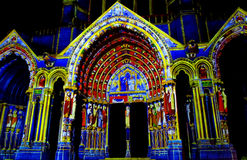 Chartres cathedral illuminated with the night lights Royalty Free Stock Image