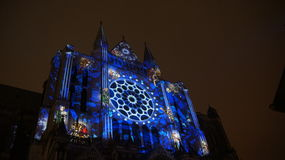 Chartres cathedral light show Royalty Free Stock Photography