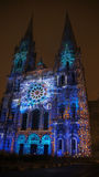 Chartres cathedral light show Royalty Free Stock Photos