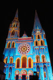 Chartres cathedral with the night lights. During the annual performance Chartres en lumieres, France Stock Photos