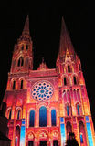 Chartres cathedral with the night lights. During the annual performance Chartres en lumieres, France Royalty Free Stock Images
